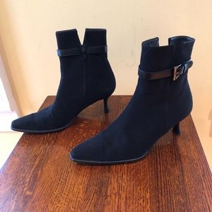 Stuart Weitzman black low heeled booties
